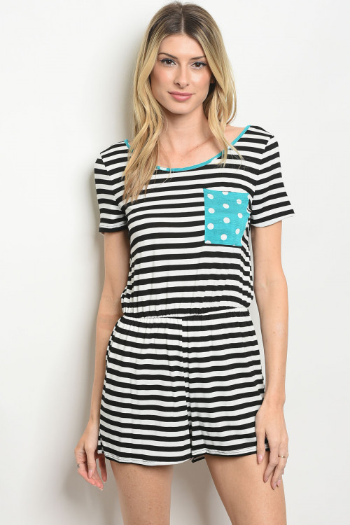 C79-A-3-NA-R34656 WHITE BLACK STRIPES ROMPER 2-2-2