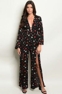 S13-7-2-J63331 BLACK FLORAL JUMPSUIT 2-2-1