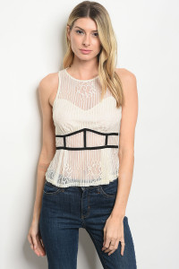 S21-3-4-T13393 CREAM BLACK TOP 3-2-1