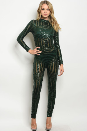 S23-11-6-J8010P1 HUNTER GREEN WITH SEQUINS JUMPSUIT 2-2-2
