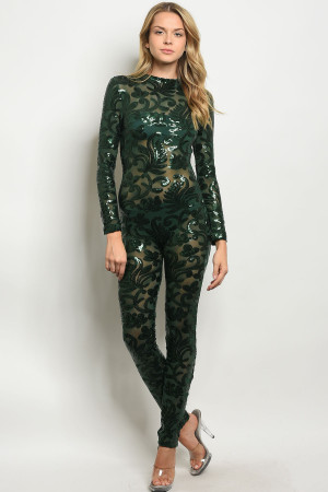 S23-11-6-J8010P3 HUNTER GREEN WITH SEQUINS JUMPSUIT 2-2-2
