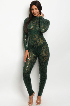 S23-12-6-J8010 HUNTER GREEN WITH SEQUINS JUMPSUIT 2-2-2