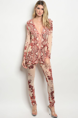 S13-9-4-ST20708 NUDE RED WITH SEQUINS CARDIGAN & PANTS SET 2-2-2