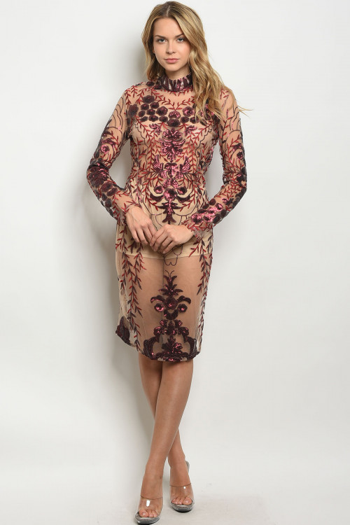 S11-12-4-D100225 NUDE BURGUNDY WITH SEQUINS DRESS 2-2-2