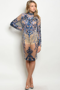 S11-12-4-D100225 NUDE ROYAL WITH SEQUINS DRESS 2-2-2  ***WARNING: California Proposition 65***