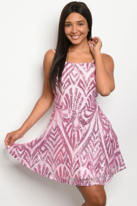 S11-1-4-D4517 PINK WITH SEQUINS DRESS 2-2-2  ***WARNING: California Proposition 65***