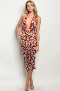 S14-5-4-D20491 NUDE RED WITH SEQUINS DRESS 2-2-2