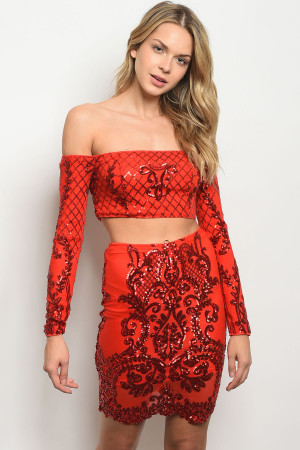 S23-9-4-SET21120 RED W/ SEQUINS TOP & SKIRT SET 3-2-2