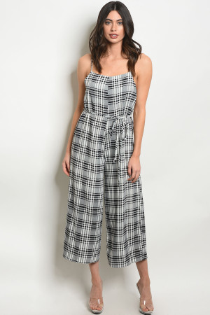 C61-A-1-J90106 WHITE BLACK CHECKERED JUMPSUIT 3-3-2