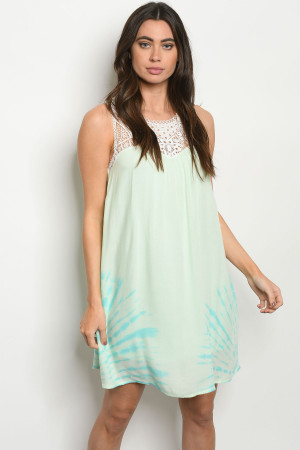 S24-4-4-D4508 MINT TIE DYE DRESS 2-2-2