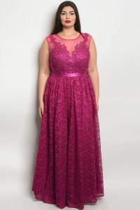S11-16-1-D24061X MAGENTA PLUS SIZE DRESS 2-2-2