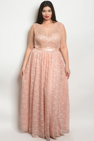 S11-13-3-D24061X BLUSH PLUS SIZE DRESS 2-2-2