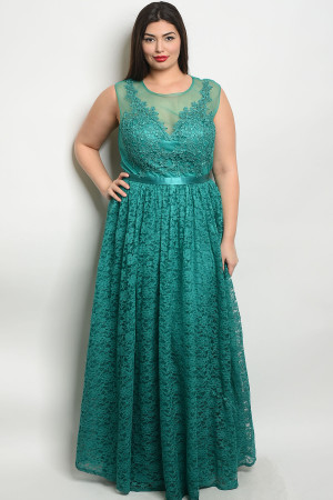 S12-4-1-D24061X TEAL PLUS SIZE DRESS 2-2-2