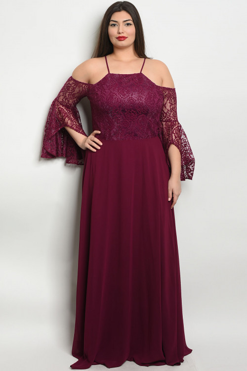 S20-9-3-D25858X PLUM PLUS SIZE DRESS 3-2-1