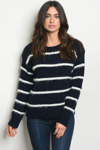 SA4-000-1-S6600 NAVY WHITE STRIPES SWEATER 2-2-2
