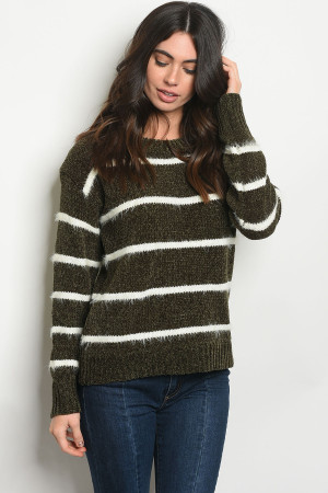 SA3-000-3-S6600 OLIVE WHITE STRIPES SWEATER 2-2-2