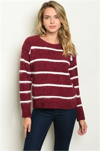 SA3-000-4-S6600 BURGUNDY WHITE STRIPES SWEATER 2-2-2