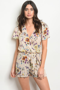SA3-0-3-R6281 TAUPE FLORAL ROMPER 2-2-2