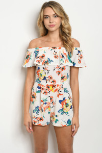 SA3-0-1-R55611 IVORY FLORAL ROMPER 2-2-2