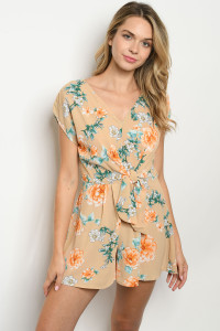 SA3-0-1-R6430 TAUPE FLORAL ROMPER 2-2-2