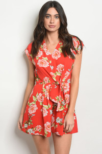 S13-10-5-R6430 RED FLORAL ROMPER 2-2-2