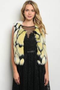 S8-13-1-V30176 YELLOW BLACK FAUX FUR VEST 2-2-2