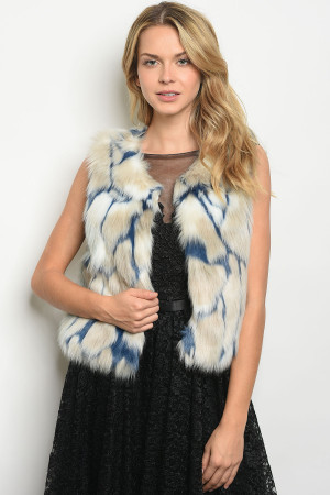 S3-10-1-V30176 BLUE GRAY FAUX FUR VEST 2-2-2