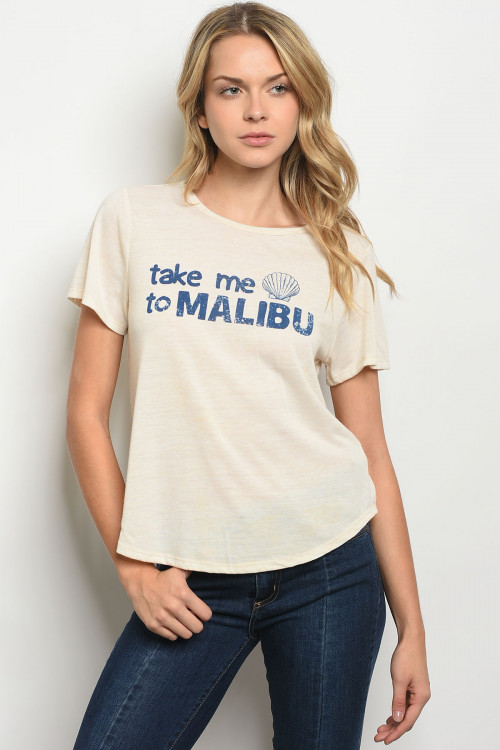 "C42-B-3-T53512 CREAM ""TAKE ME TO MALIBU"" PRINT TOP 3-2-1"