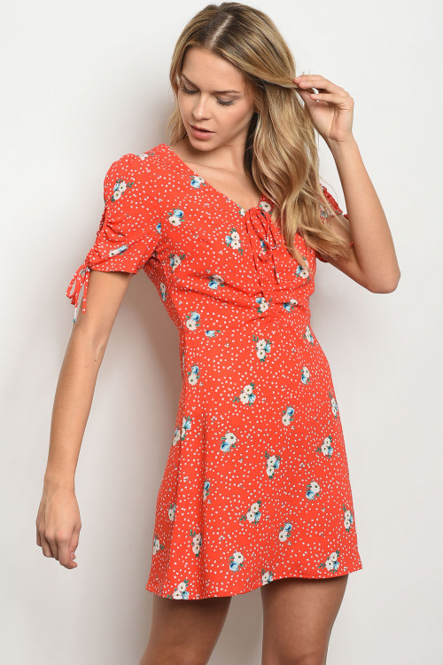 C48-A-2-D5371 RED WITH FLOWER PRINT DRESS 3-2-1