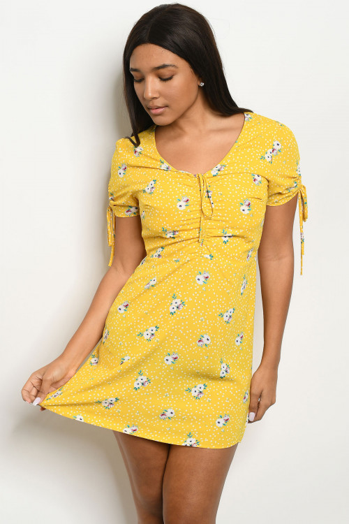 C52-A-3-D5371 MUSTARD WITH FLOWER PRINT DRESS 3-2-1