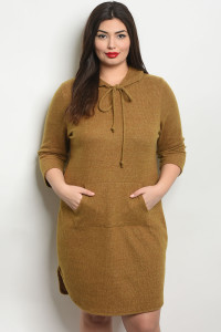 C34-A-5-D50727X MUSTARD PLUS SIZE DRESS 2-2-2