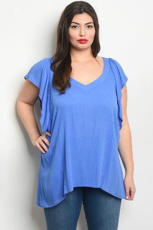 S19-1-2-T355X BLUE PLUS SIZE TOP 2-2-2