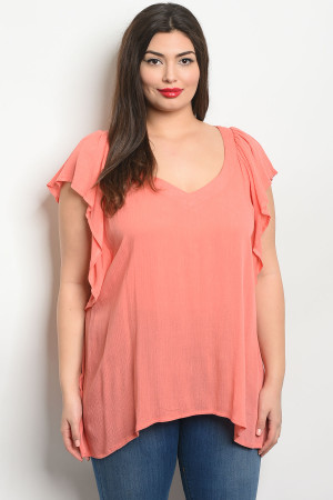 S19-1-2-T355X CORAL PLUS SIZE TOP 2-2-2
