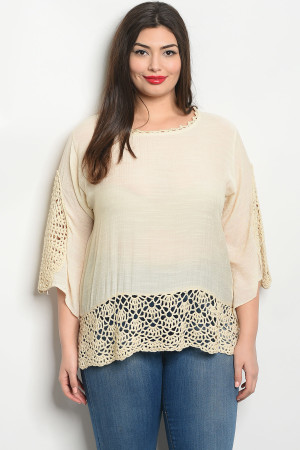 S11-2-4-T203X IVORY PLUS SIZE TOP 2-2-2
