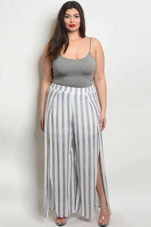 S11-2-3-P50005X BLUE WHITE STRIPES PLUS SIZE PANTS 2-2-2