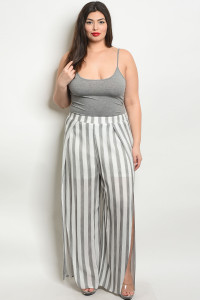 S11-11-1-P50005X BLACK WHITE STRIPES PLUS SIZE PANTS 2-2-2