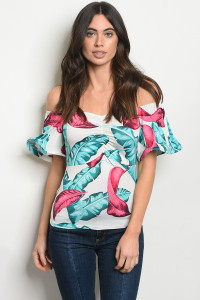 C33-B-6-T3822 OFF WHITE TURQUOISE TOP 2-2-2