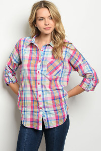S23-12-4-T9097 FUCHSIA BLUE CHECKERED TOP 2-2-2