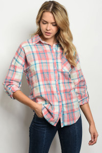 S19-12-1-T9097 PEACH BLUE CHECKERED TOP 2-2-2