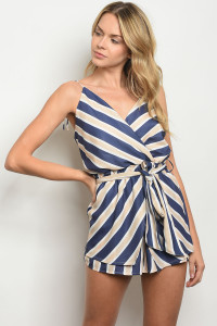 S24-5-4-R1066 NAVY TAUPE ROMPER 3-2-1