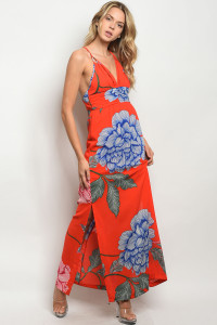S20-9-1-D3600 RED FLORAL DRESS 5-2-1