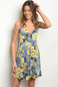 C53-A-1-D1060 BLUE YELLOW FLORAL DRESS 2-2-2