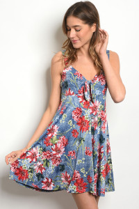 C51-A-1-D1060 BLUE RED FLORAL DRESS 2-2-2