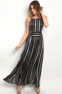 S24-2-5-D124511 NAVY WINE STRIPES DRESS 2-2-2