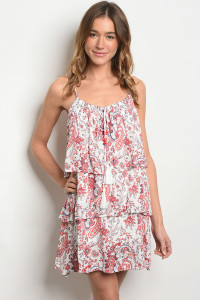 S24-2-5-D4162 IVORY RED WITH PAISELY PRINT DRESS 2-2-2