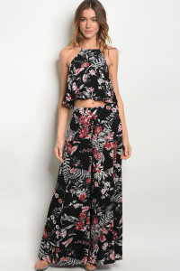 S24-5-5-SET3269 BLACK FLORAL TOP & PANTS SET 2-2-2