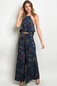 S24-5-5-SET3269 NAVY FLORAL TOP & PANTS SET 2-2-2