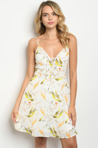 S24-1-5-D4238 OFF WHITE WITH LEAVES PRINT DRESS 2-2-2