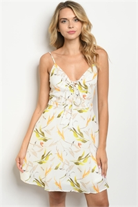 S17-5-2-D4238 OFF WHITE WITH LEAVES PRINT DRESS 1-1-1