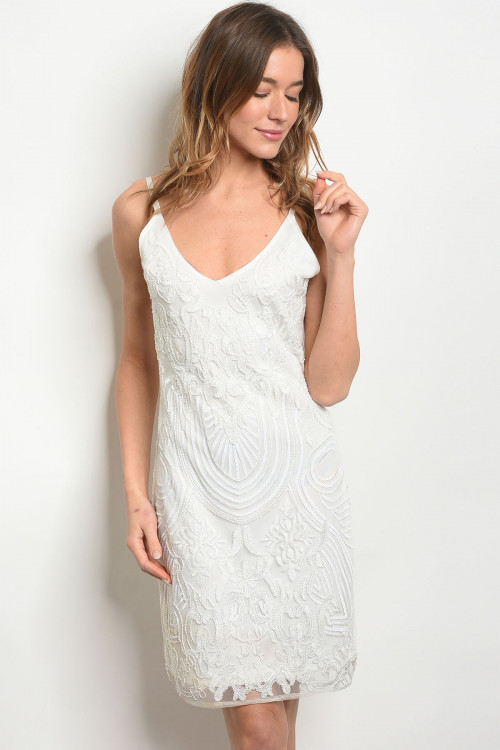S11-10-2-D67112 WHITE WITH SEQUINS DRESS 2-2-2 ***WARNING: California Proposition 65***